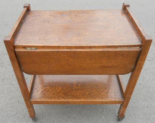 Oak Dropleaf Tea Trolley with End Drawer
